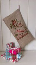 Personalized Vist from St Nick Father Christmas Xmas Santa Sack / Stocking Bag Jute Hessian